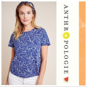 Anthropologie Blue Bunny Rabbit Weekend Tee Shirt